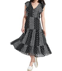 polka dot flutter-sleeve midi dress