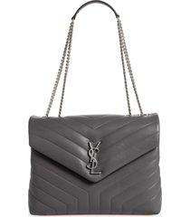 saint laurent medium loulou matelasse leather shoulder bag - grey