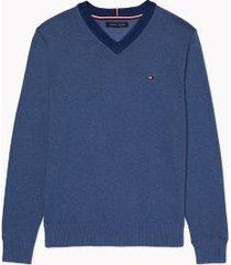 tommy hilfiger men's essential v-neck sweater navy heather - s