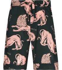desmond & dempsey circe lion-print pajama shorts - green