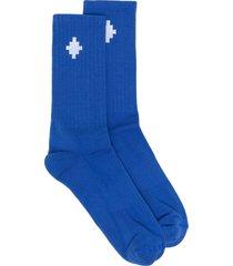 marcelo burlon county of milan jacquard cross logo socks - blue
