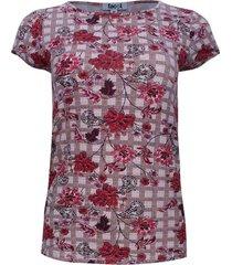 camiseta estampada cuadros y flores