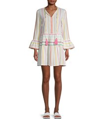 morgan stripe bell-sleeve cotton dress