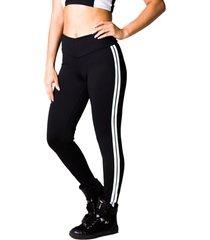calã§a adamas legging preta com listras laterais - preto - feminino - poliã©ster - dafiti