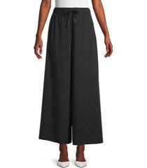 patrizia luca women's pinstripe cotton wide-leg pants - black - size s