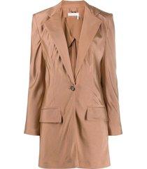 chloé tailored longline blazer - neutrals