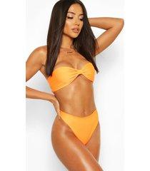 neon knotted bandeau bikini, neon-orange
