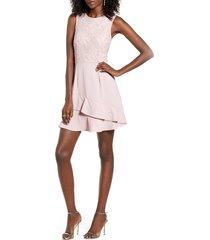 women's speechless lace bodice ruffle crepe dress, size medium - pink