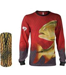 camisa + máscara pesca quisty dourado o rei do rio vermelho proteção uv dryfit infantil/adulto - camiseta de pesca quisty