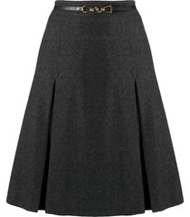 céline pre-owned pleated detailing belted skirt - grey