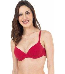 sutiã meia taça bojo básico cereja - 532.013 marcyn lingerie meia taça vermelho