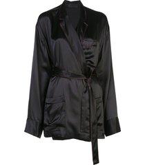 haider ackermann belted silk tunic - black