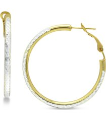 "giani bernini medium two-tone textured hoop earrings in sterling silver & 18k gold-plate, 1-1/2"", created for macy's"