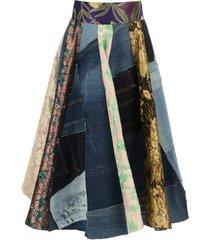 dolce & gabbana patchwork midi skirt