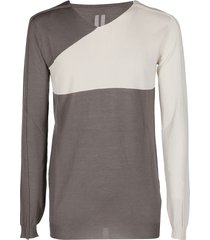 rick owens white and grey wool-cotton sweatshirt