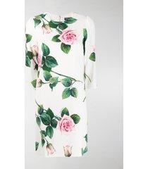 dolce & gabbana rose print shift dress