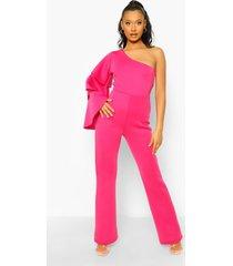 scuba jumpsuit met eén blote schouder en wijd uitlopende pijpen, hot pink