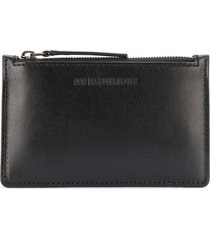 ann demeulemeester slim leather wallet - black