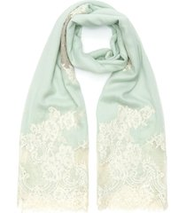 floral lace panel wool-silk scarf