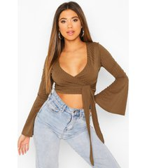 cropped rib flare sleeve top, khaki