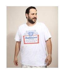 camiseta masculina plus size budweiser manga curta gola careca branca