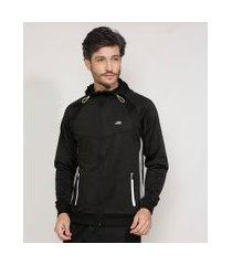jaqueta masculina esportiva ace com capuz e bolsos de zíper preta