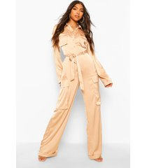 tall utility luxe cargo jumpsuit, stone