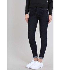 calça jeans feminina sawary skinny cintura super alta azul escuro