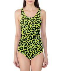 leopard print bright green women's swimsuit