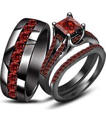 14k black gold red garnet wedding trio his & her bridal band engagement ring set