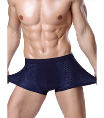hombres summer thin mesh transpirable super stretch sexy boxer underwear