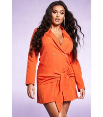 tie front double breasted blazer dress