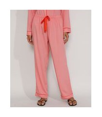 calça de pijama feminino com vivo contrastante e laço rosa
