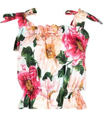 dolce & gabbana tie strap floral print cropped top - pink