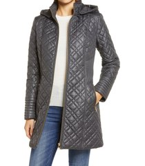 women's via spiga quilted hooded coat, size x-large - grey