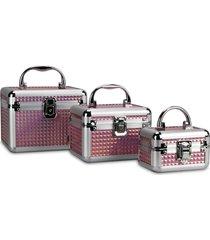 kit 3 maletas rubys alumínio organizadoras para maquiagem e jóias fúcsia