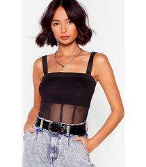 womens mesh believe panel bodysuit - black