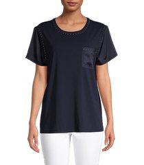 karl lagerfeld paris women's studded roundneck pocket t-shirt - marine - size m