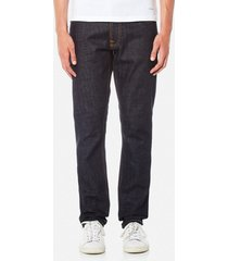 nudie jeans men's dude dan straight jeans - dry comfort dark - w36/l34 - blue