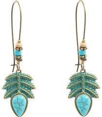 orecchini pendenti turchesi con foglie blu turchese, perline, orecchini pendenti di charme per le donne