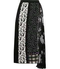 antonio marras mixed pattern mid-length skirt - black
