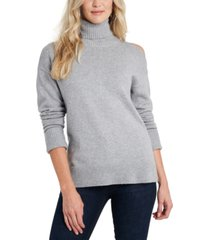 1.state cold-shoulder cuffed turtleneck sweater