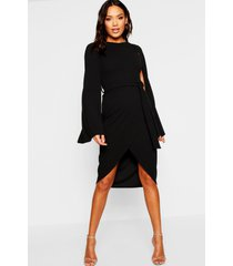cape sleeve tie waist wrap midi dress, black