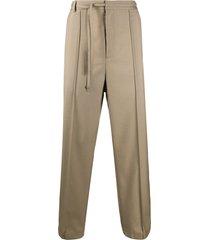 maison margiela tie waist straight-leg trousers - neutrals