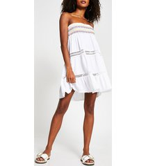 river island womens white bandeau mini beach dress