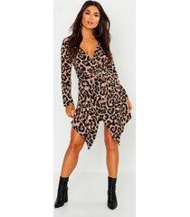 petite leopard print button detail wrap dress, brown