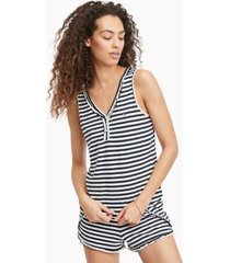 tommy hilfiger women's stripe short pajama set white / navy - xl