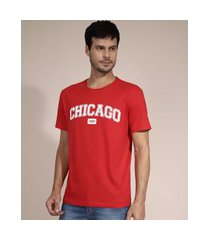 """camiseta de algodão chicago"""" manga curta gola careca vermelha"""""""