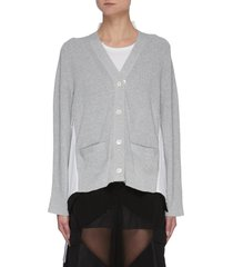 v-neck cotton cardigan front hybrid top