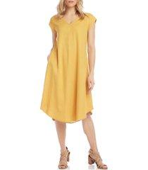 women's karen kane v-neck swing dress, size small - metallic